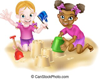 Cartoon Girls Building Sandcastles - Cartoon black and white...