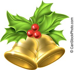 Holly Gold Bell Christmas Design
