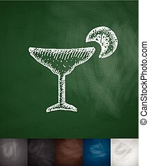 cocktail icon Hand drawn vector illustration Chalkboard...