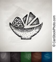 nachos icon. Hand drawn vector illustration. Chalkboard...