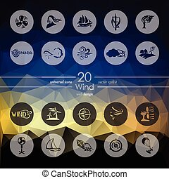 Set of wind icons - wind modern icons for mobile interface...