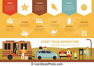 Start Your Adventure infographic flat vector illustration....