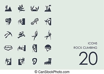 Set of rock climbing icons - rock climbing vector set of...