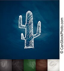 cactus icon Hand drawn vector illustration Chalkboard Design...