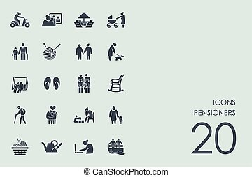 Set of pensioners icons - pensioners vector set of modern...
