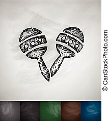 maracas icon Hand drawn vector illustration Chalkboard...