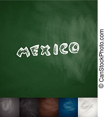 MEXICO icon Hand drawn vector illustration Chalkboard Design...