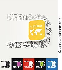passport paper sticker with hand drawn elements - hand drawn...