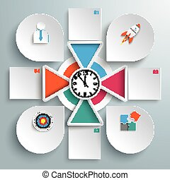 Big Circle Infographic 4 Triangles Clock Squares Drops -...