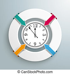 Rings 4 Arrows Businessman Centre Clock - Infographic with...