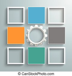 4 Colored Squares And Frames Gear - Infographic design with...