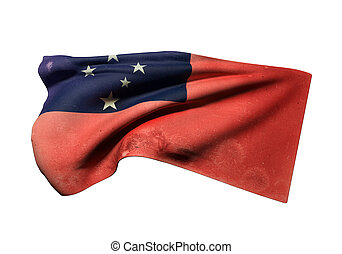 Independent State of Samoa flag - 3d rendering of an old...