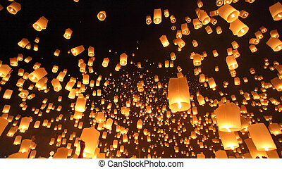 Floating lanterns ceremony or Yeepeng ceremony, traditional...