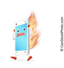 smartphone with burning fire