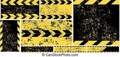 Black Yellow Road diagonal Strips