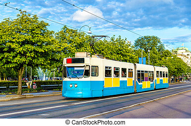 Tram on a street of Gothenburg - Sweden - Tram on a street...