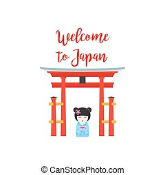 Welcome to Japan with Kokeshi Doll - Welcome to Japan Vector...