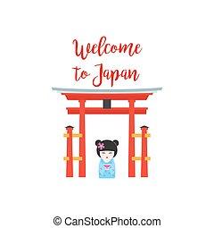 Japão, bem-vindo,  kokeshi, boneca