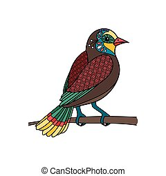 Bird with floral pattern