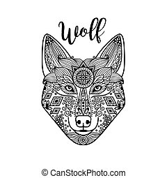 Zentangle wolf head with guata - Zentangle wolf head with...