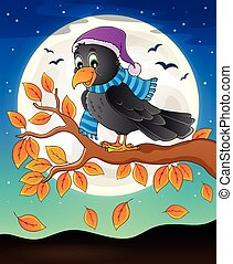 Autumn branch with raven - eps10 vector illustration.