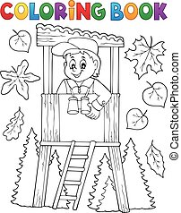 Coloring book forester theme 1 - eps10 vector illustration.