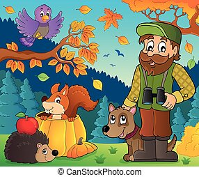 Forester and autumn animals illustration.