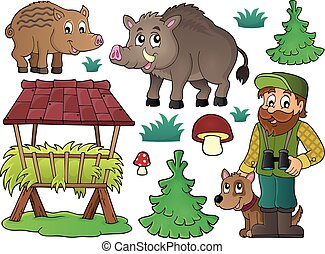 Forester and wildlife theme set 1 - eps10 vector...