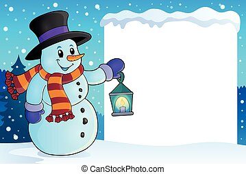 Frame with snowman topic 4 - eps10 vector illustration.