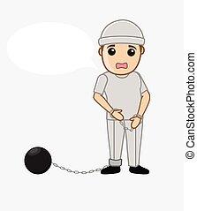 Sad Prisoner with Shackle Ball Vector Illustration