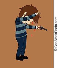 Terrorist with Gun Vector Illustration