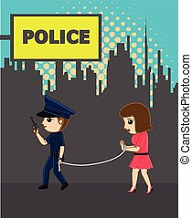 Lady Police with Female Criminal Vector Illustration