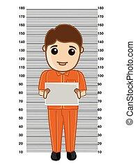 Criminal Holding a Slate Vector Illustration