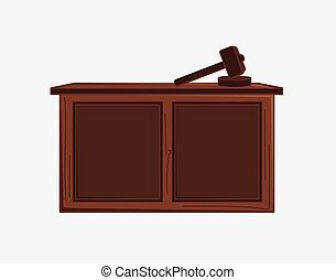 Judge Hammer and Desk Vector Illustration