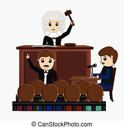 Judge Striking on Desk in Courtroom Vector Illustration