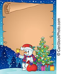 Parchment with Christmas snowman theme 1 - eps10 vector...