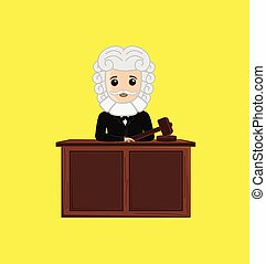 Judge in Courtroom Vector Illustration