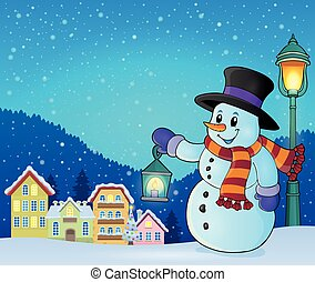 Snowman with lantern theme illustration.