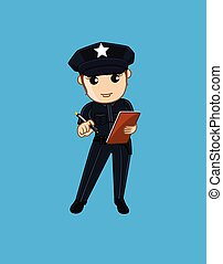 Female Police with Notepad Vector Illustration