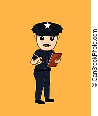 Police Holding a Notepad Vector Illustration