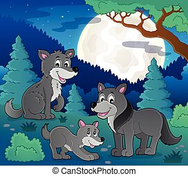 Wolves theme image 2 - eps10 vector illustration.