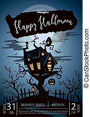 Happy Halloween party poster with spooky castle