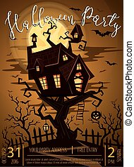 Halloween party banner with spooky castle