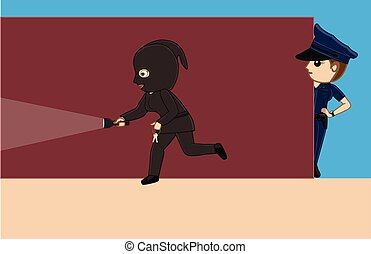 Police Following a Thief Vector Illustration