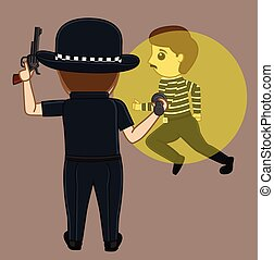 Thief Caught on Police Torch Light Vector Concept...
