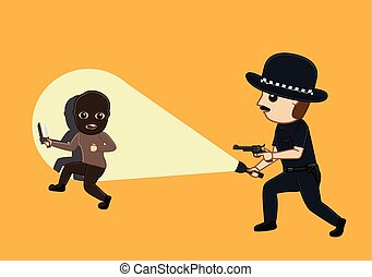 Thief Caught on Police Torch Light Vector Illustration