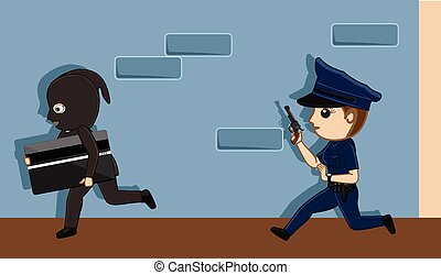 Credit Card Thief Trying to Run Away from Police Vector...