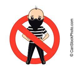 Thief Forbidden Symbol Vector Illustration