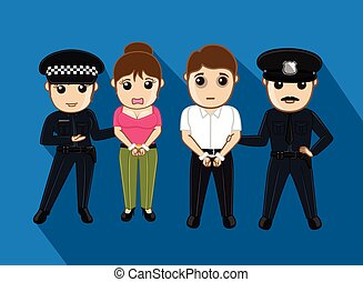 Police Arrested a Fraud Couple Vector Illustration