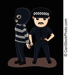 Police Arrested a Gangster Vector Illustration